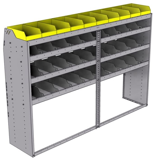 "25-8858-4 Profiled back bin separator combo Shelf unit 84""Wide x 18.5""Deep x 58""High with 4 shelves"
