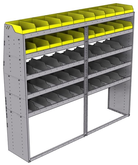 "25-8872-5 Profiled back bin separator combo Shelf unit 84""Wide x 18.5""Deep x 72""High with 5 shelves"