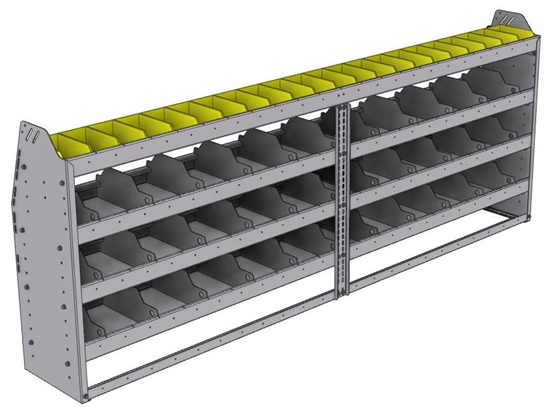 "25-9336-4 Profiled back bin separator combo Shelf unit 94""Wide x 13.5""Deep x 36""High with 4 shelves"