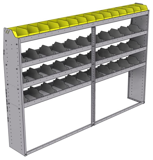 "25-9363-4 Profiled back bin separator combo Shelf unit 94""Wide x 13.5""Deep x 63""High with 4 shelves"