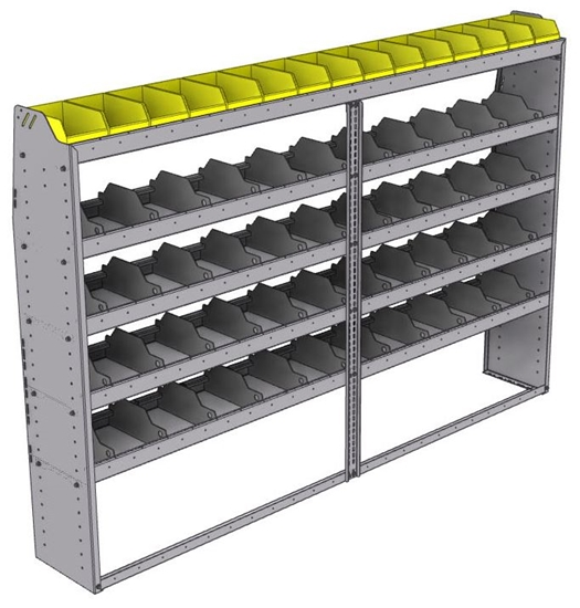 "25-9363-5 Profiled back bin separator combo Shelf unit 94""Wide x 13.5""Deep x 63""High with 5 shelves"