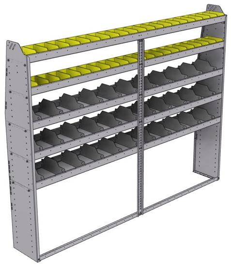 "25-9372-5 Profiled back bin separator combo Shelf unit 94""Wide x 13.5""Deep x 72""High with 5 shelves"