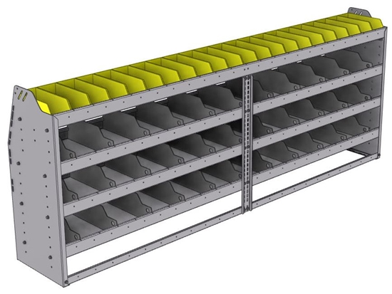 "25-9536-4 Profiled back bin separator combo Shelf unit 94""Wide x 15.5""Deep x 36""High with 4 shelves"