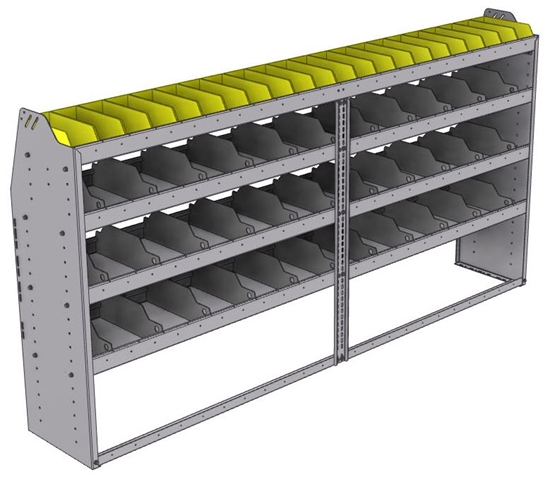 "25-9548-4 Profiled back bin separator combo Shelf unit 94""Wide x 15.5""Deep x 48""High with 4 shelves"