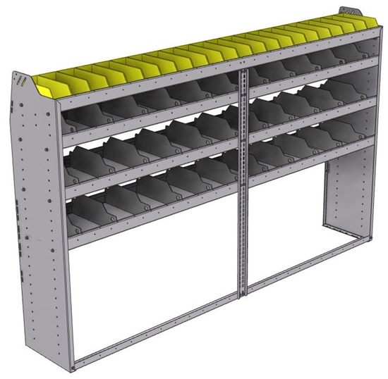 "25-9558-4 Profiled back bin separator combo Shelf unit 94""Wide x 15.5""Deep x 58""High with 4 shelves"
