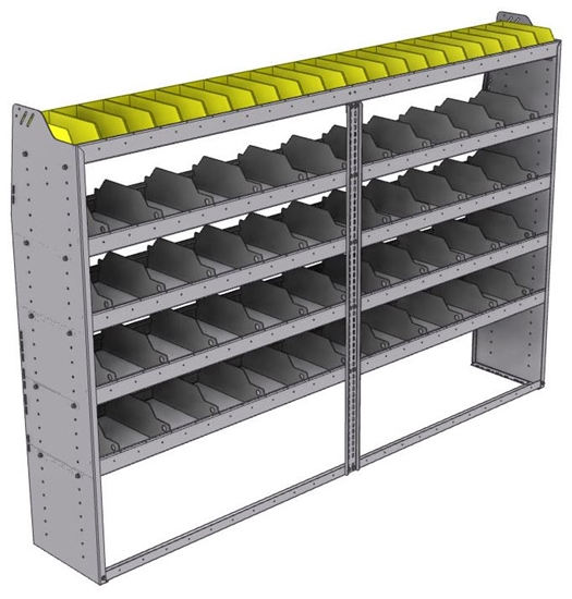 "25-9563-5 Profiled back bin separator combo Shelf unit 94""Wide x 15.5""Deep x 63""High with 5 shelves"
