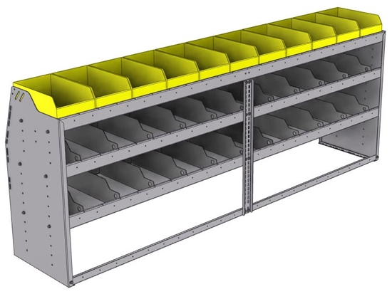 "25-9836-3 Profiled back bin separator combo Shelf unit 94""Wide x 18.5""Deep x 36""High with 3 shelves"