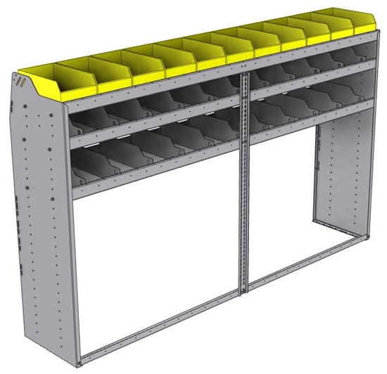 "25-9858-3 Profiled back bin separator combo Shelf unit 94""Wide x 18.5""Deep x 58""High with 3 shelves"