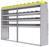 "25-9863-4 Profiled back bin separator combo Shelf unit 94""Wide x 18.5""Deep x 63""High with 4 shelves"
