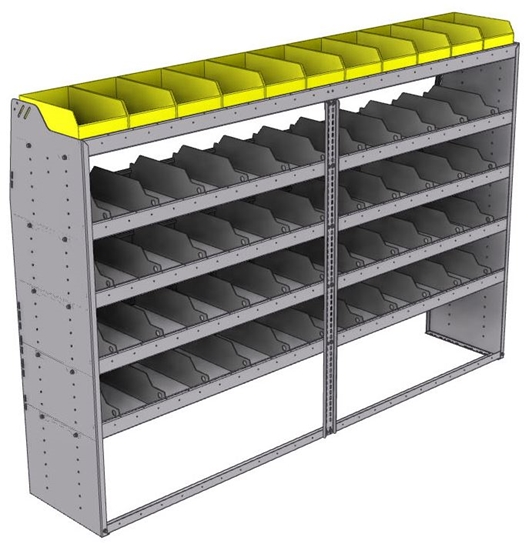 "25-9863-5 Profiled back bin separator combo Shelf unit 94""Wide x 18.5""Deep x 63""High with 5 shelves"