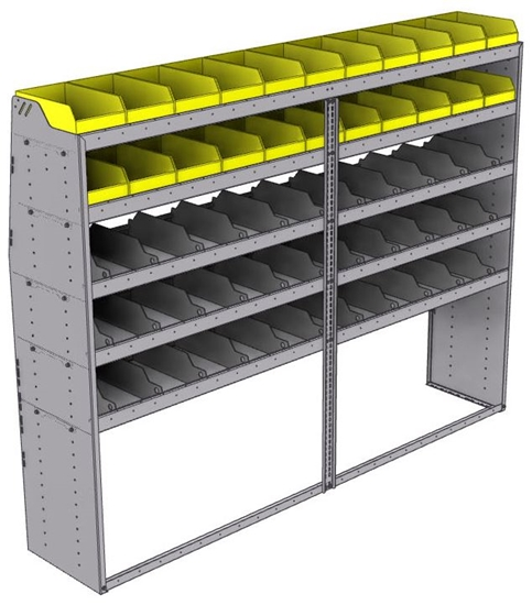 "25-9872-5 Profiled back bin separator combo Shelf unit 94""Wide x 18.5""Deep x 72""High with 5 shelves"