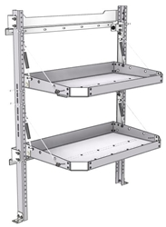 "26-3048-20 2 level fold-up shelving unit, 35""Wide x 18""Deep x 48""High"