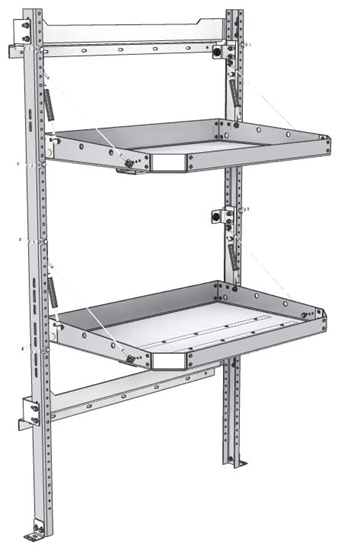 "26-3063-02 2 level fold-up shelving unit, 35""Wide x 21""Deep x 63""High"