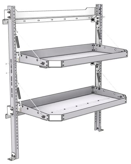 "26-4048-20 2 level fold-up shelving unit, 41""Wide x 18""Deep x 48""High"