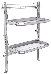 "26-4058-20 2 level fold-up shelving unit, 41""Wide x 18""Deep x 58""High"