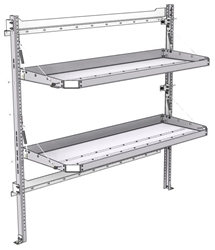 "26-6063-02 2 level fold-up shelving unit, 63""Wide x 21""Deep x 63""High"