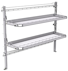 "26-7063-02 2 level fold-up shelving unit, 77""Wide x 21""Deep x 63""High"