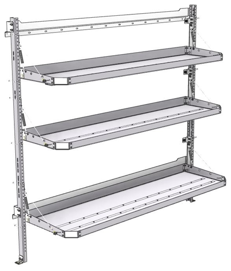 "26-7072-21 Combo 3 level fold-up shelving unit, 77""Wide x 21""Deep x 72""High"