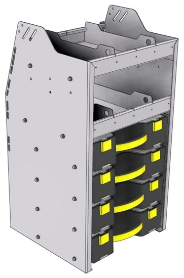 """15-1836-4 Profiled back carry case cabinet 18-7/8""""Wide x 18.5""""Deep x 36""""High with 4 Carrycases"""