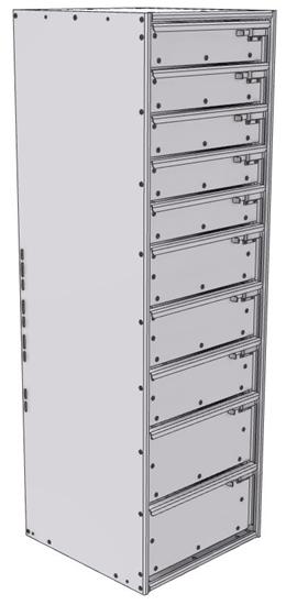 """16-1856-532 Tool drawer 18"""" Wide X 18.5"""" Deep X 55-11/16"""" High with 10 drawers"""