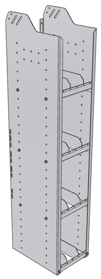 "28-1558-4 Square Back Bookshelf, 11""Wide x 15.5""Deep x 58""High with 4 shelves"