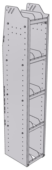 "29-1363-5 Profiled Back Bookshelf, 11""Wide x 13.5""Deep x 63""High with 5 shelves"