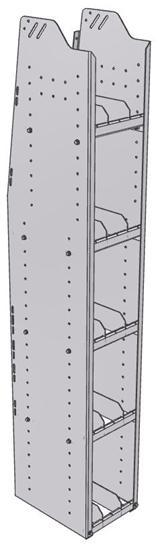 "29-1572-5 Profiled Back Bookshelf, 11""Wide x 15.5""Deep x 72""High with 5 shelves"