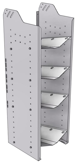 """32-C548-4 Square Back Refrigerant Combo Shelf Unit 15.45""""Wide x 15.5""""Deep x 48""""High for 1 large and 3 small bottles"""