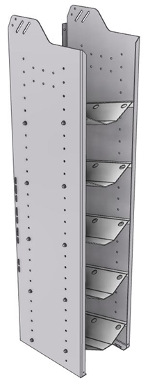"""32-S558-5 Square Back Refrigerant Shelf Unit 12.45""""Wide x 15.5""""Deep x 58""""High for 5 small bottles"""