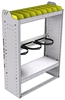 """36-3348-2 Square back refrigerant bin unit 34.5""""Wide x 13.5""""Deep x 48""""High with 2 shelves"""