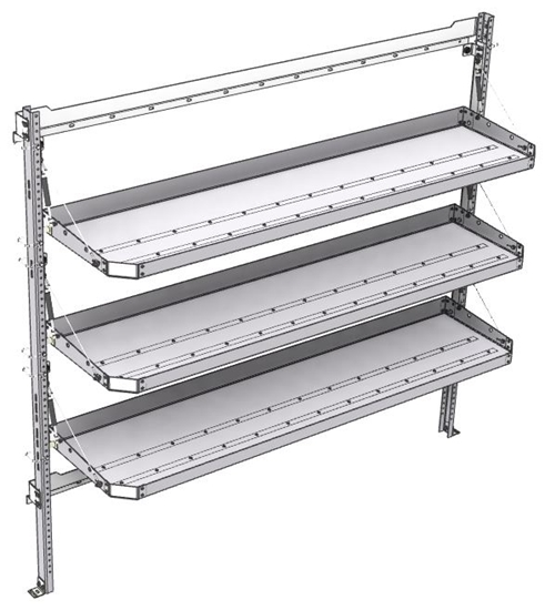 "26-7072-30 3 level fold-up shelving unit, 77""Wide x 18""Deep x 72""High"