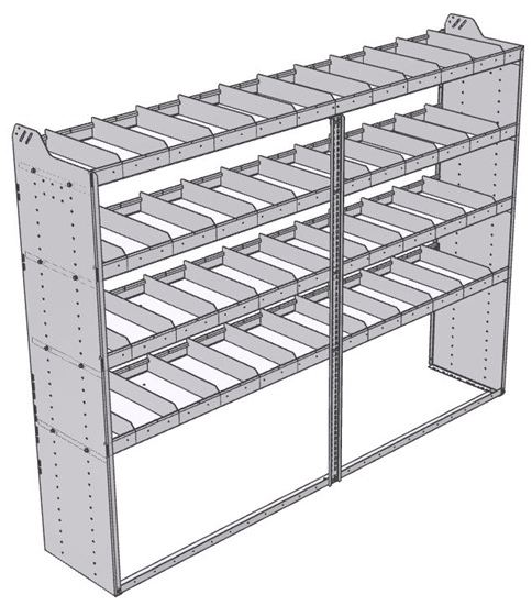 "20-9872-4 Square back shelf unit 96""Wide x 18.5""Deep x 72""High with 4 shelves"