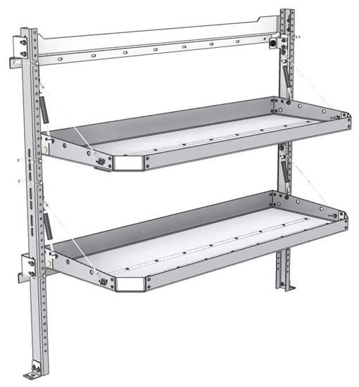 "26-5048-20 2 level fold-up shelving unit, 53""Wide x 18""Deep x 48""High"