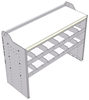 "18-5836-2W Workbench 48""Wide x 18.5""Deep x 36""high with 2 standard divider shelf and a 1.5"" thick hardwood worktop"