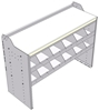 """18-5836-4W Workbench 48""""Wide x 18.5""""Deep x 36""""high with 2 high divider shelf and a 1.5"""" thick hardwood worktop"""