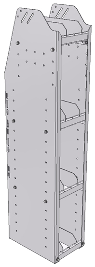 "29-9348-4 Profiled Back Bookshelf, 9""Wide x 13.5""Deep x 48""High with 4 shelves"