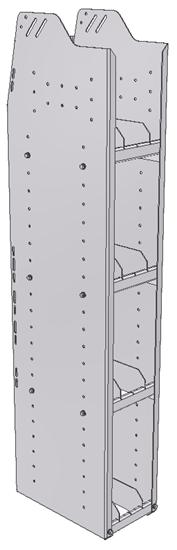 "29-9558-4 Profiled Back Bookshelf, 9""Wide x 15.5""Deep x 58""High with 4 shelves"