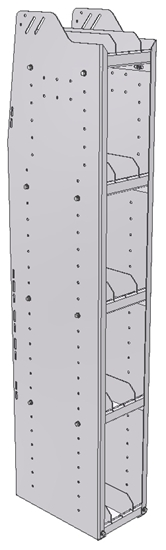 "29-9563-5 Profiled Back Bookshelf, 9""Wide x 15.5""Deep x 63""High with 5 shelves"