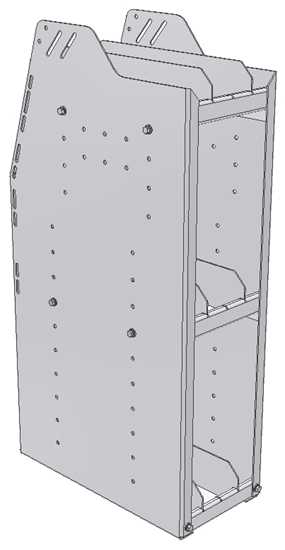 "29-9836-3 Profiled Back Bookshelf, 9""Wide x 18.5""Deep x 36""High with 3 shelves"